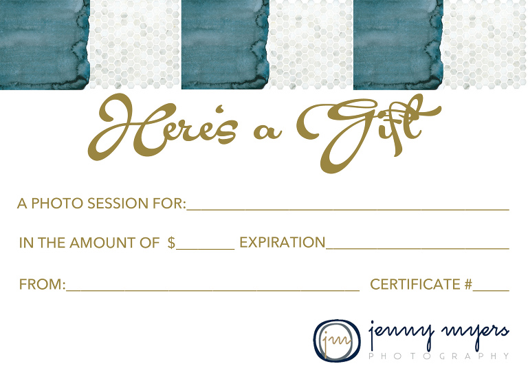 Jenny Myers Photography Gift Certificate