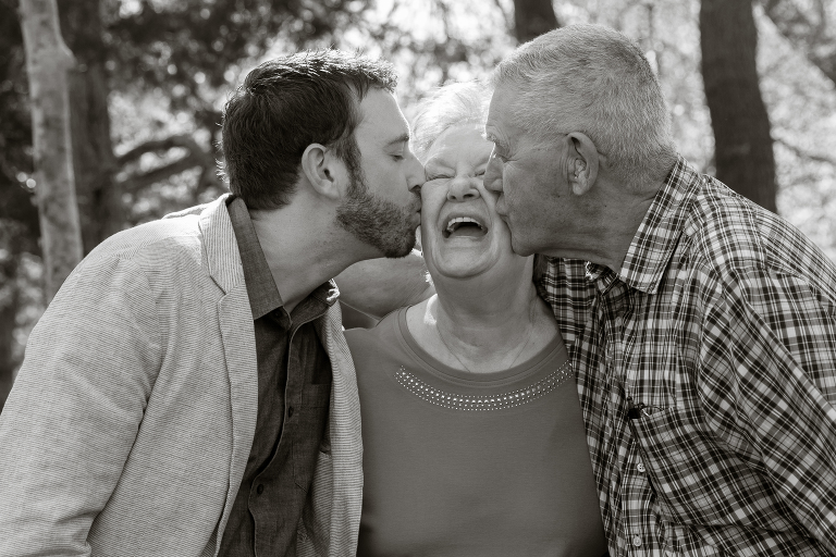 kissing grandma at Botanica Jenny myers Photography