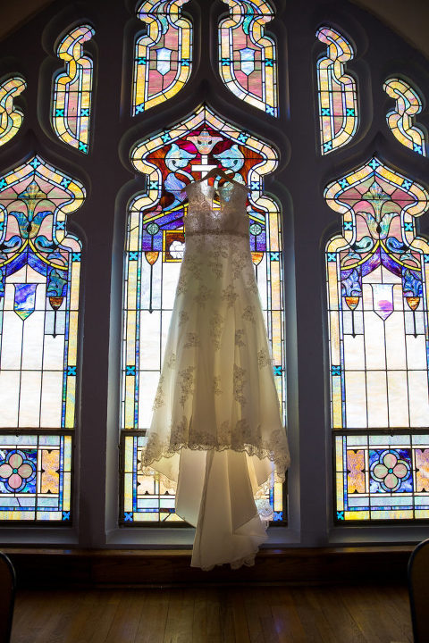 Wedding Dress in Stained glass window